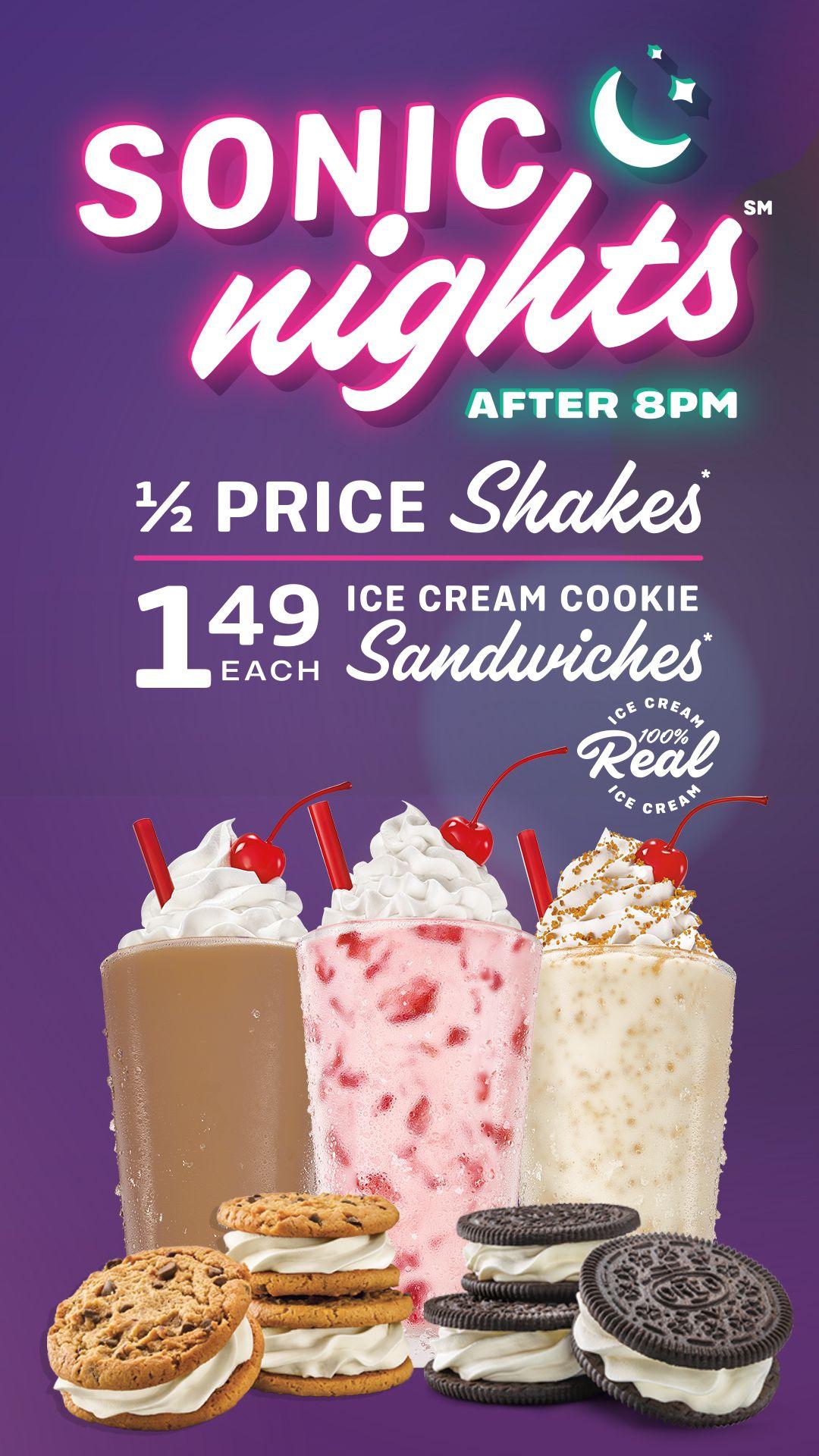 Mom deal sonic nights 12 price shakes 149 ice cream