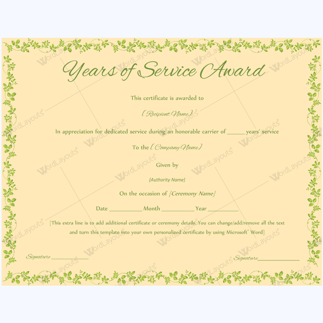 years of service award 05 years of service award certificate