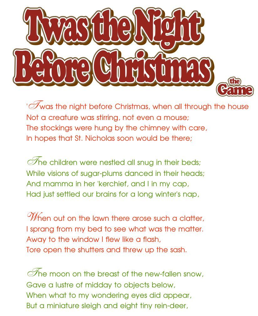Twas the Night Before Christmas * Party Game. Print each page ...