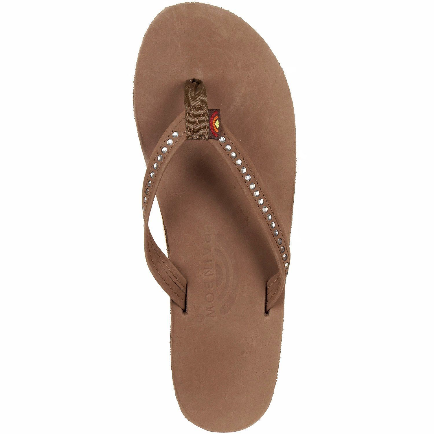 04844ae34dbfd Rainbow Rainbow Sandals Women s Single Layer Narrow Strap White Crystal