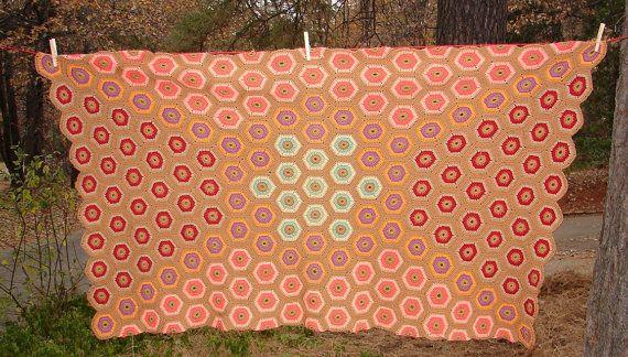 Awesome Vintage Crocheted Geo Afghan by NopalitoVintageMore, $45.00