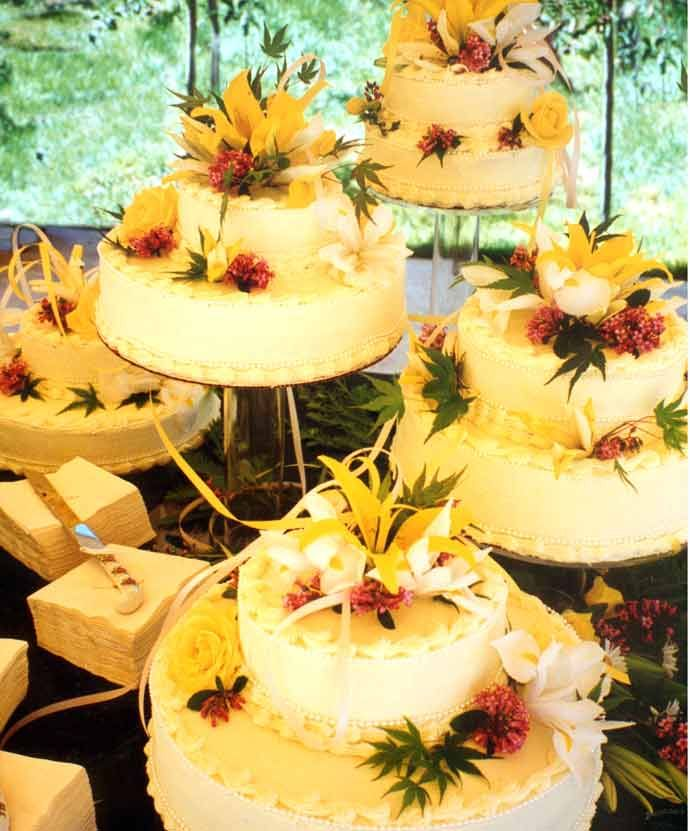 Satellite Wedding Cake, where the layers are tiered at separate ...