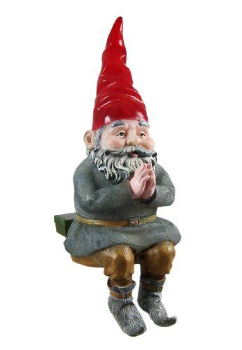 MORDECAI Glowing Gnome Solar Garden Sitter Statue By Toad Hollow. $29.99.  Lights Up At