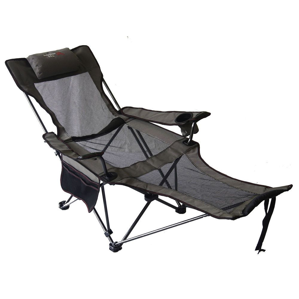 Patio Recliner Chairs Lounge Camping Chair Grey Reclining Seat Beach Folding Recliner