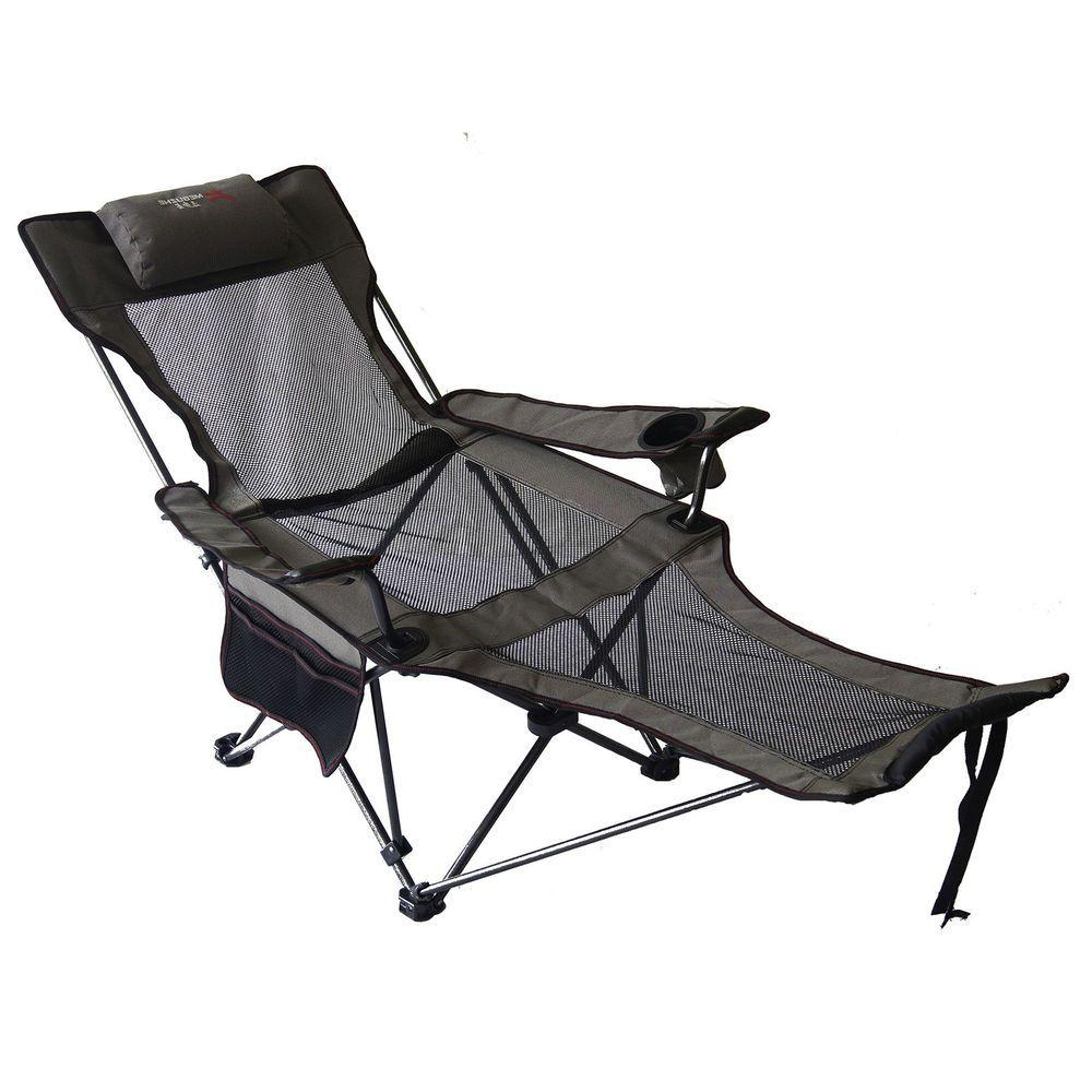 Awesome Lounge Camping Chair Grey Reclining Seat Beach Folding Creativecarmelina Interior Chair Design Creativecarmelinacom
