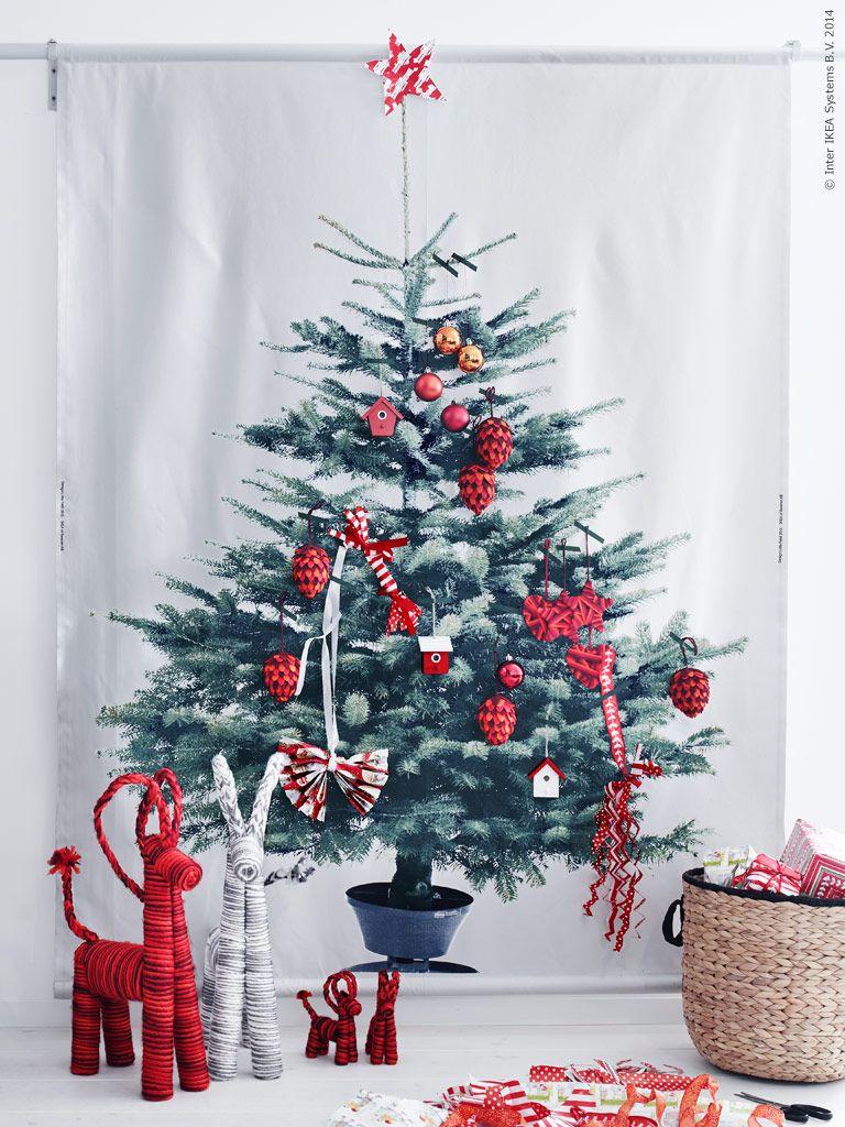 Jul på IKEA 2014: VINTER 2014 tyg med gran-tryck, bredd 150 cm. VINTERMYS dekoration julbock. POTATIS kruka/korg.