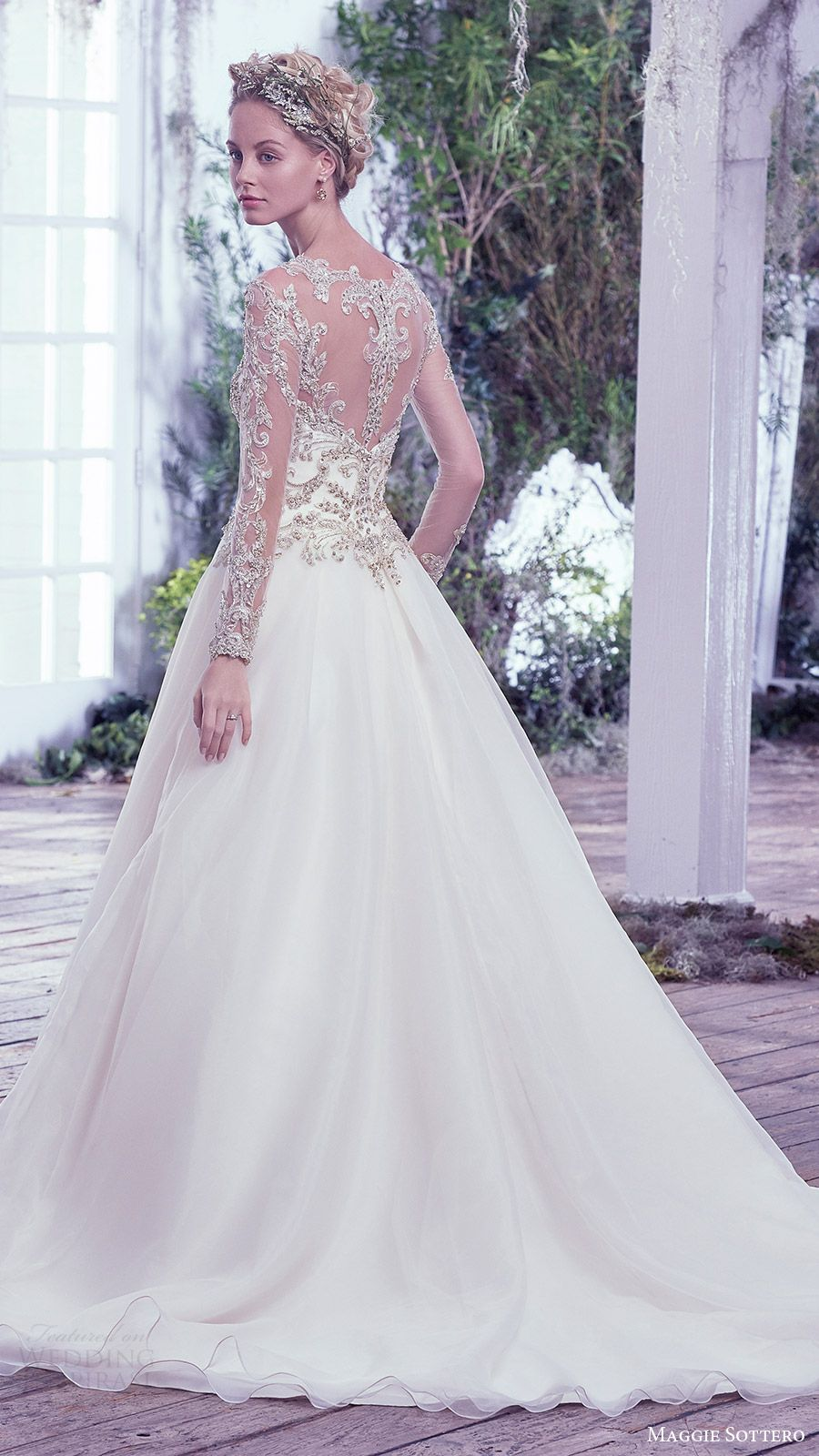 Maggie Sottero Bridal Fall 2016 Illusion Long Sleeves Sweetheart Jewel Neck Ball Gown Wedding Dress