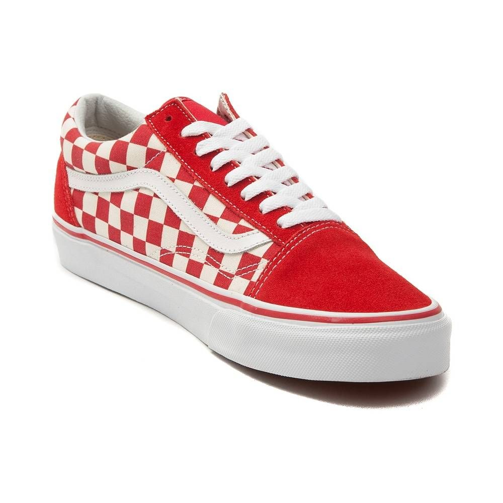 vans old skool chex skate shoe red white checkerboard