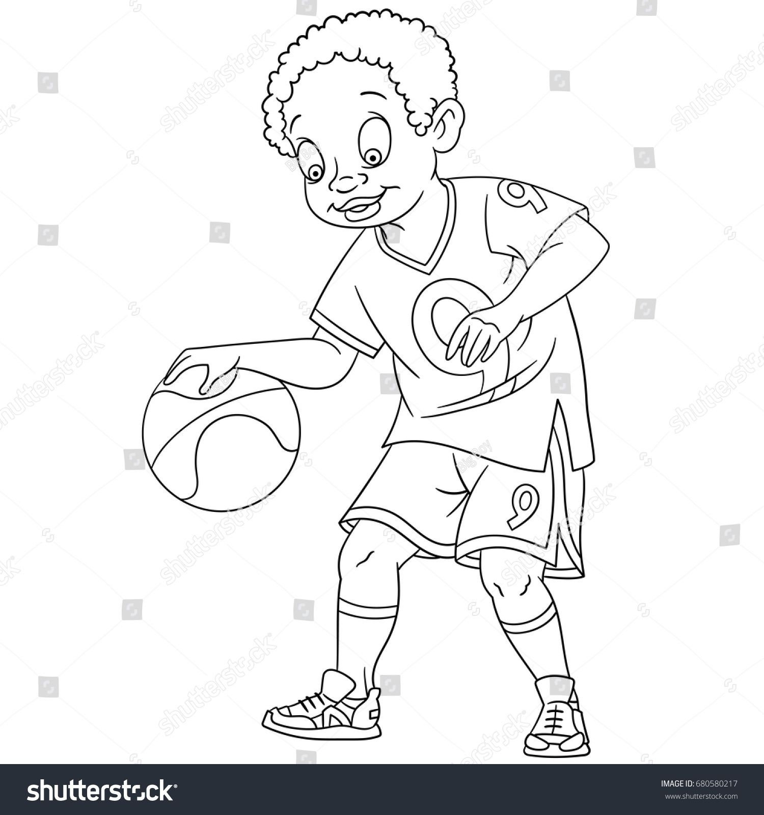 Coloring Page Of Boy Playing Basketball Colouring Book For Kids And Children Cartoon Vector Illustration Boys Playing Cartoon Illustration Coloring Pages