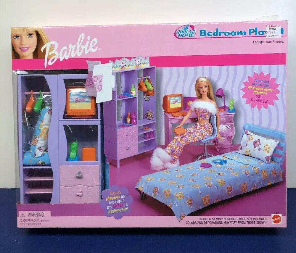 Mattel Barbie Doll Bedroom Play Set All Around Home 2001 Mint Nrfb Mattel Barbie Doll Set Barbie Playsets Playset
