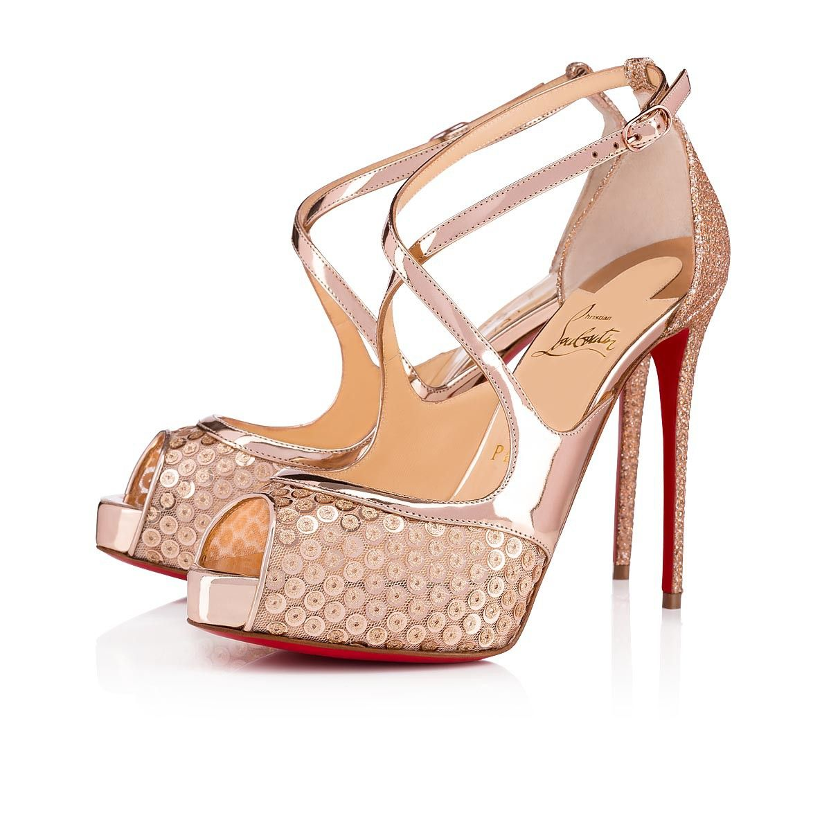 cd091ee531f4 Christian Louboutin United States Official Online Boutique - Mira Bella 120  Nude Glitter available online. Discover more Women Shoes by Christian  Louboutin