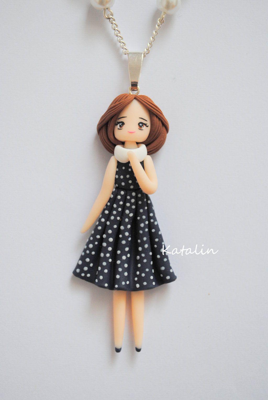 Vintage chibi doll polymer clay necklace by KatalinHandmade.deviantart.com on @deviantART