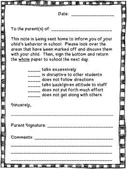 Behavior Note Home Elementary Art Classroom Behavior