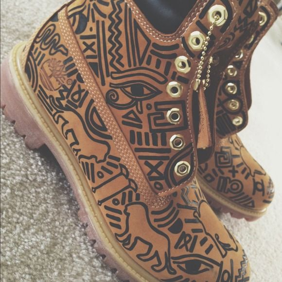 Any size Custom timberland boots DESIGN