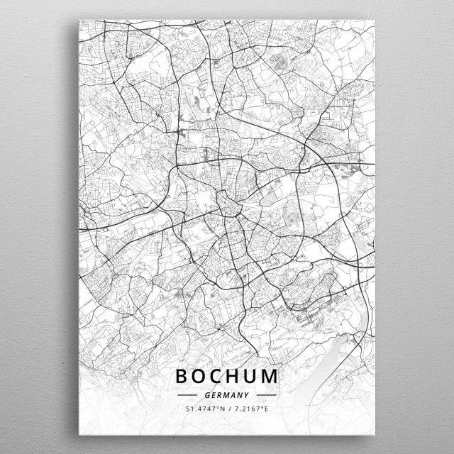 Bochum Germany By Designermap Art Metal Posters Light Maps