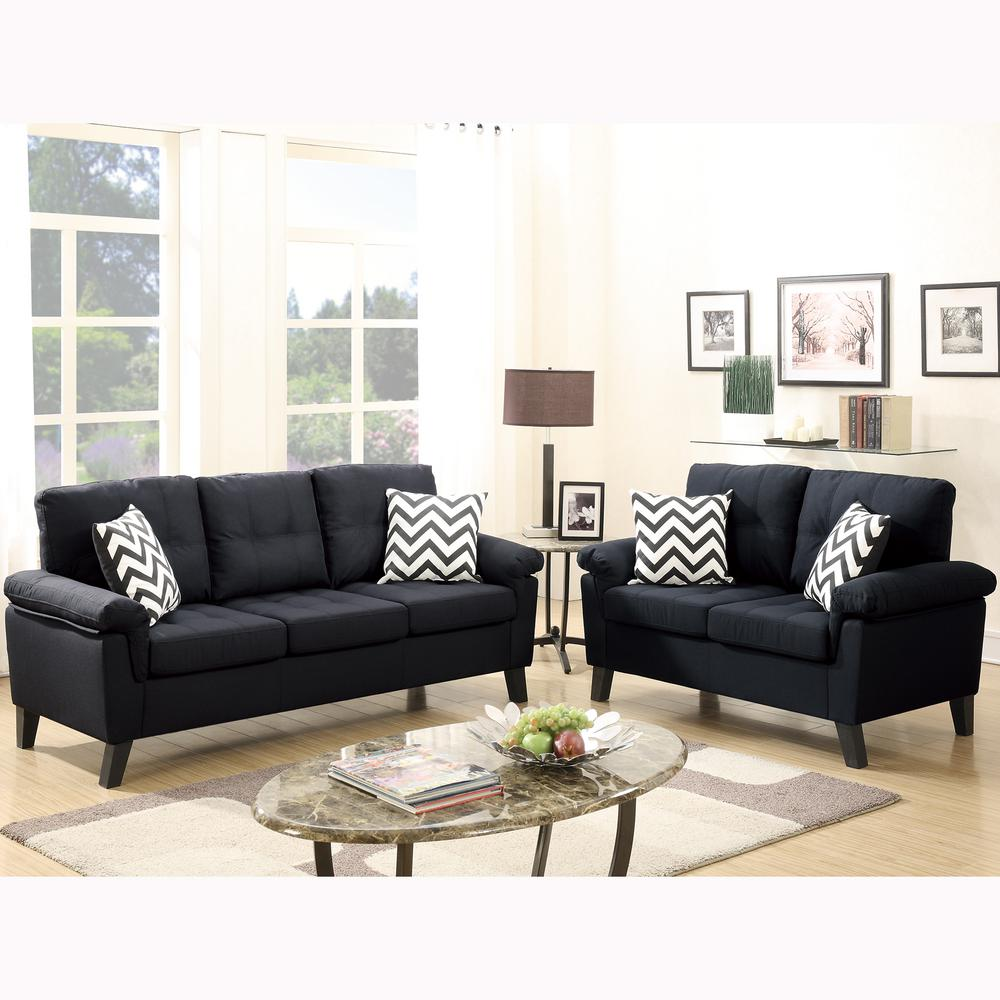 Terrific Venetian Worldwide Liguria 2 Piece Black Sofa Set Living Gmtry Best Dining Table And Chair Ideas Images Gmtryco
