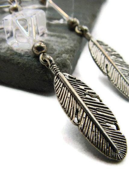 Feather Earrings Long Silver Earrings Quartz by TheJewelryByAndrea, $24.00