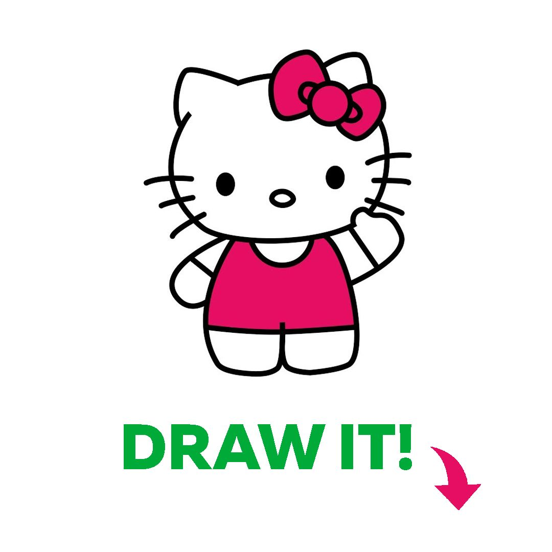 How To Draw Hello Kitty Easy Coloring Drawing For Kids Toddlers Babies Hello Kitty Drawing For Kids Baby Drawing