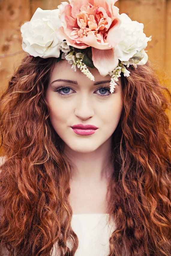 Peaches and Cream Flower Crown Headband by GypsyRVintage on Etsy, £25.00