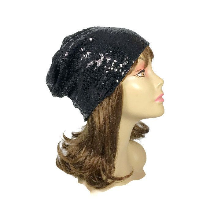 54a99d4e009 Black Sequin Hat CUSTOM SIZE Lining Sequin Slouchy Beanie Black Tiny  Sequined Hat Glam Sequin Hat for Hair Loss Sequin Chemo Cap Sparkle Hat by  LooptheLoop ...