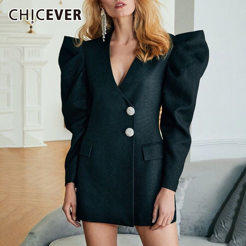 Photo of CHICEVER Vintage Black Blazer Dress For Women V Neck Puff Sl…