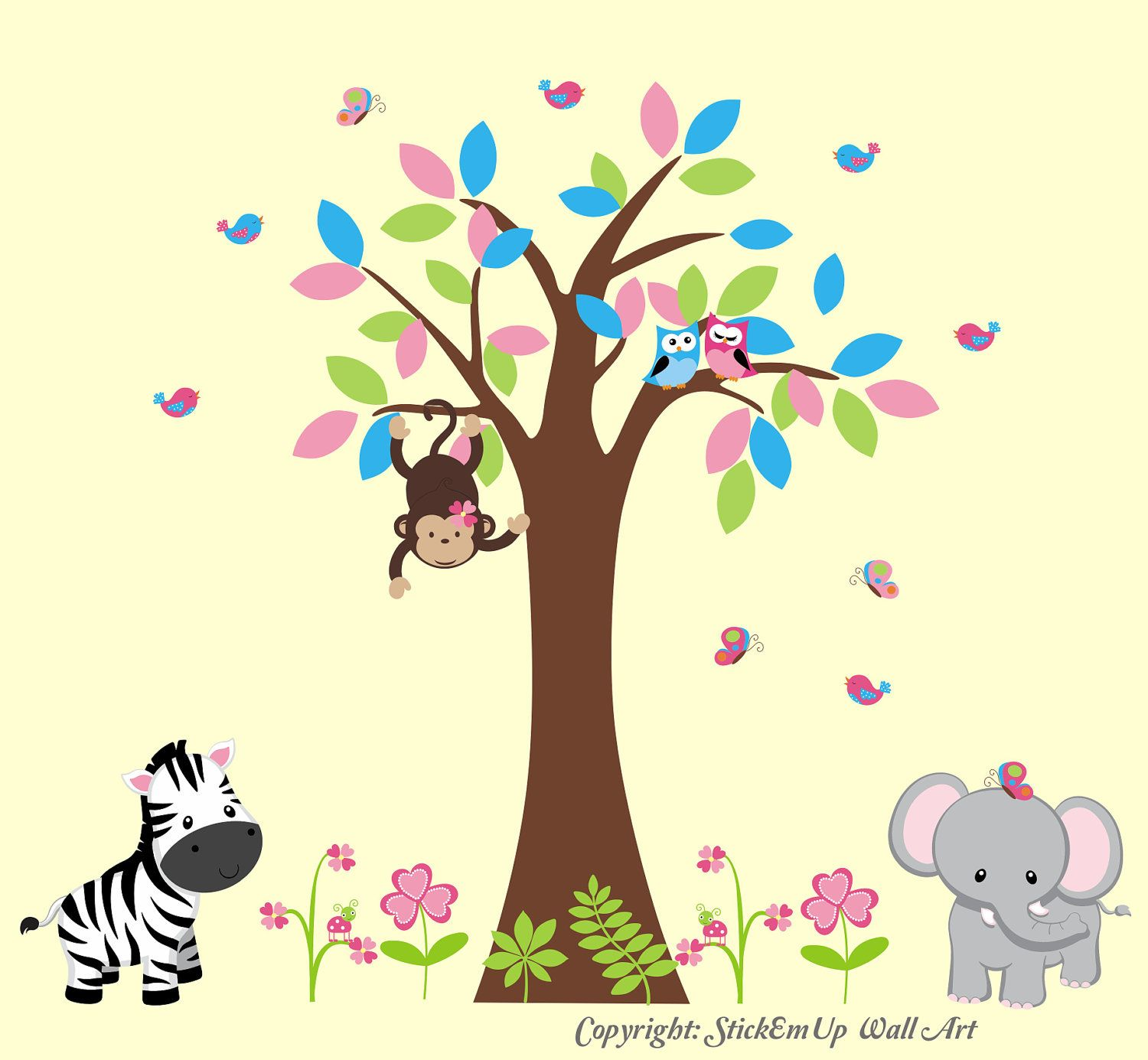 Monkey Wall Decal with Large Tree, Elephant, Zebra, Owls, Birds ...