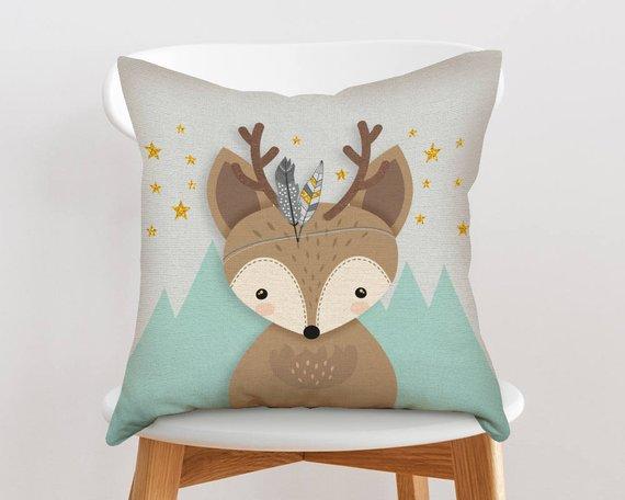 Woodland nursery throw pillow, Woodland nursery pillow, Decorative nursery pillow, Throw pillow, Cushion cover, Deer pillow, Forest friends
