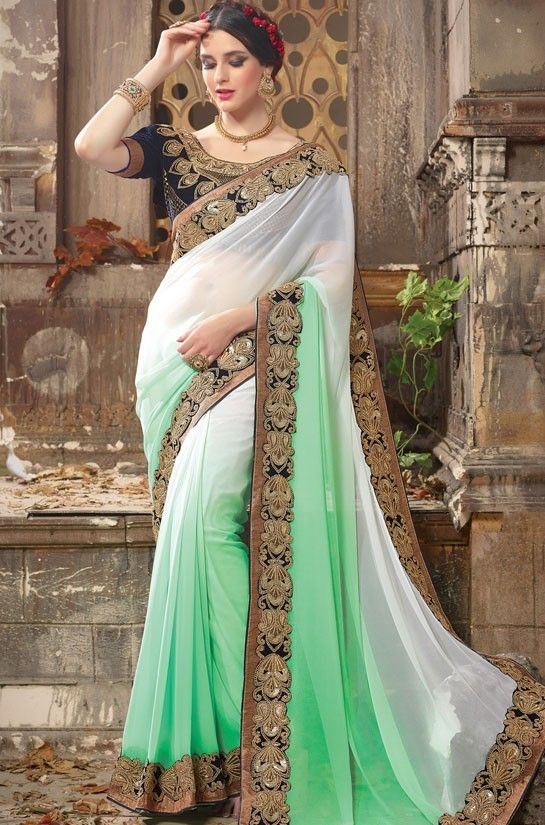 ba87fb32fb Exclusive Sea Green and Off White Saree | Sarees Collection | Party ...