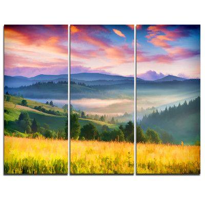 DesignArt Beautiful Mountainous Region - 3 Piece Graphic Art on Wrapped Canvas Set