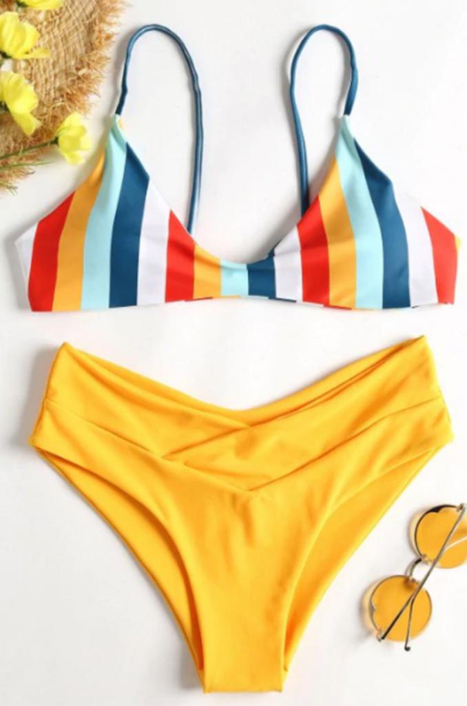 2c38030937 Yellow Rainbow Stripe Bikini Set in 2019 | Fashion Swimwear | High ...