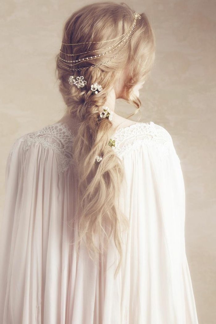 1001   Ideas for Stunning Medieval and Renaissance Hairstyles     light blonde hair  with messy voluminous braid  decorated with delicate  silver ornaments  and