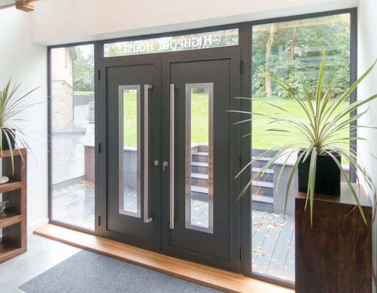 Doors Contemporary Front Doors Minimalist Model With Two Glass Shelves And  Also Flower Pot Contemporary Front