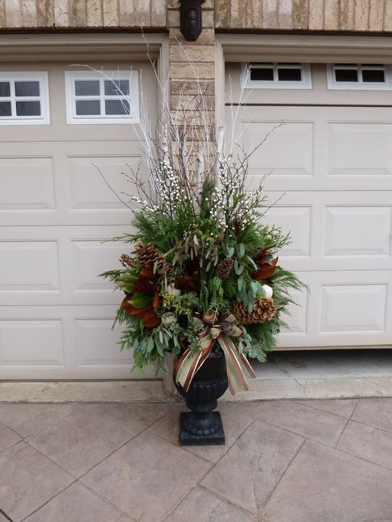 charming outdoor christmas urn decorating ideas 1 - Outdoor Christmas Planter Decorating Ideas