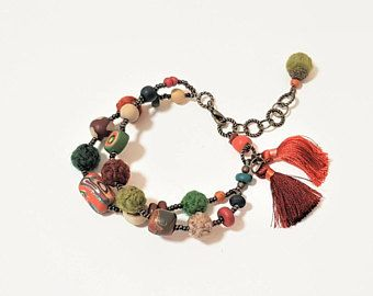 Polymer Clay Bracelet. Double Strand Beads. Burnt Sienna, Green, Brown, Gold, Cream and Orange. Autumn Jewelry. Earthy Tones. Yarn Beads.