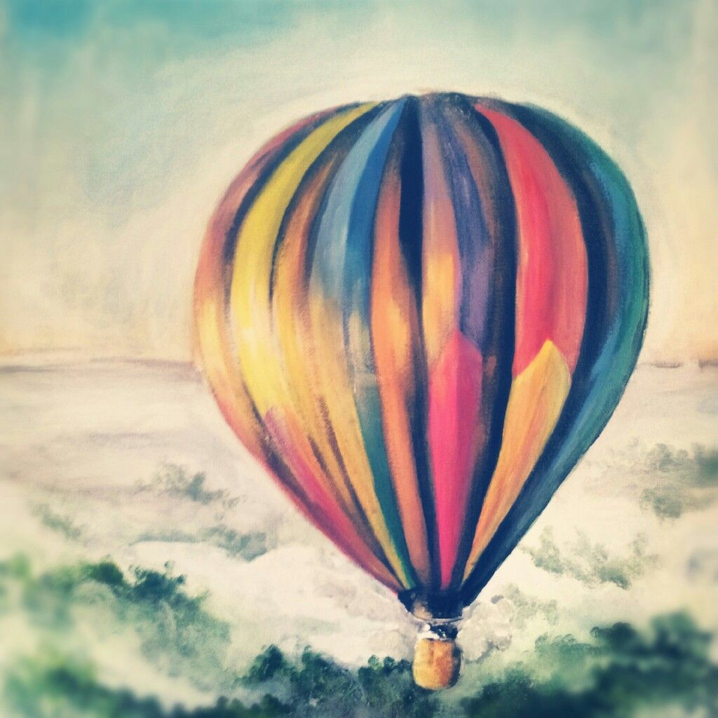 Drawing of a hot air balloon www.sandrahermans.nl