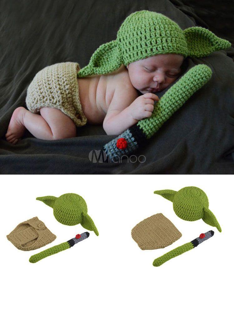 Conjuntos de Accesorios de fotograf/ía para beb/és Conjunto de Trajes de Yoda de Punto de Ganchillo Hecho a Mano para fotograf/ía de reci/én Nacidos