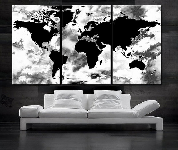 Large 30x 60 3 panels art canvas print beautiful world map black large 3 panels art canvas print beautiful world map black white wall home decor interior included framed depth gumiabroncs Gallery