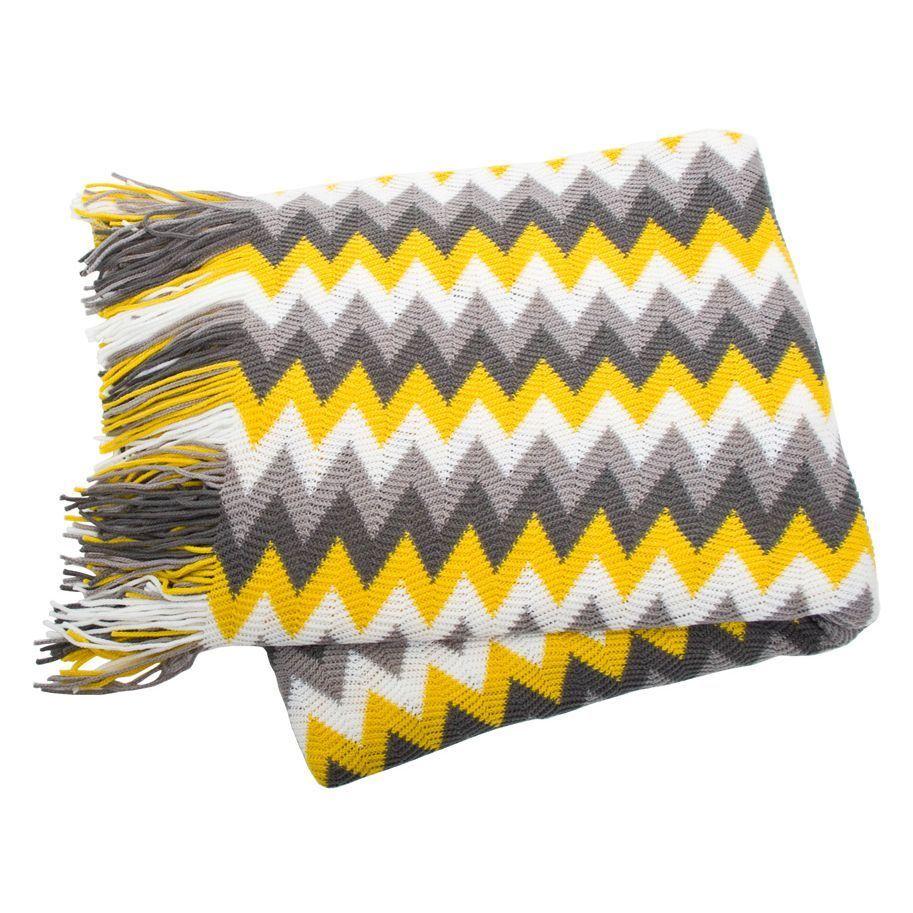 Grey White Yellow Chevron Sofa Blankets Throws Rugs In Home Garden