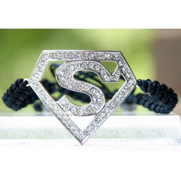 Superman adjustable bracelet ($17) ❤ liked on Polyvore featuring jewelry, bracelets, accessories, bijoux, superheros, adjustable bangle, superman jewelry, clear jewelry and clear crystal jewelry