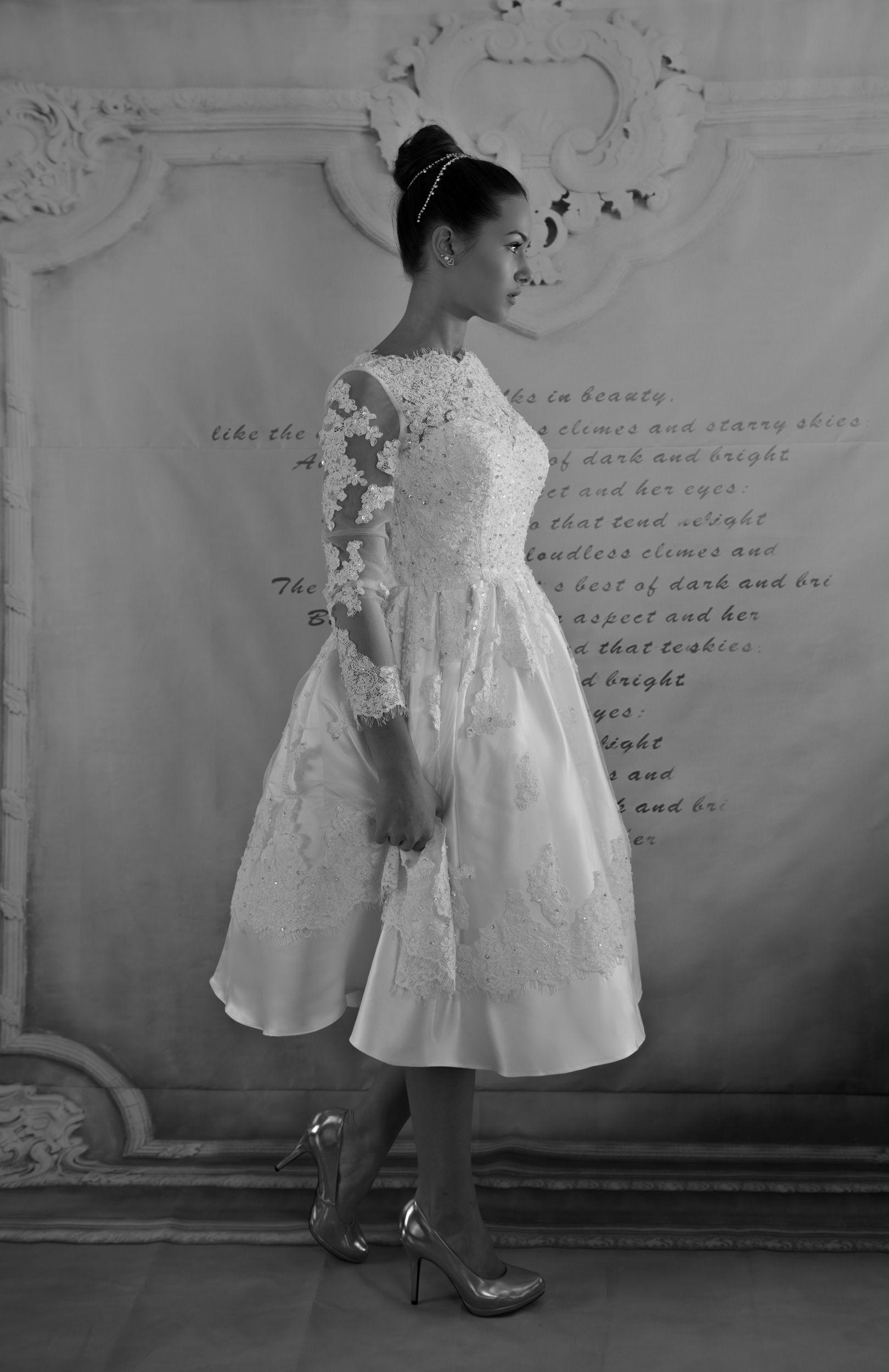 Wedding dress with short front and long back  Amber Short elegant long sleeve sexy wedding dress  Gloria Agostina