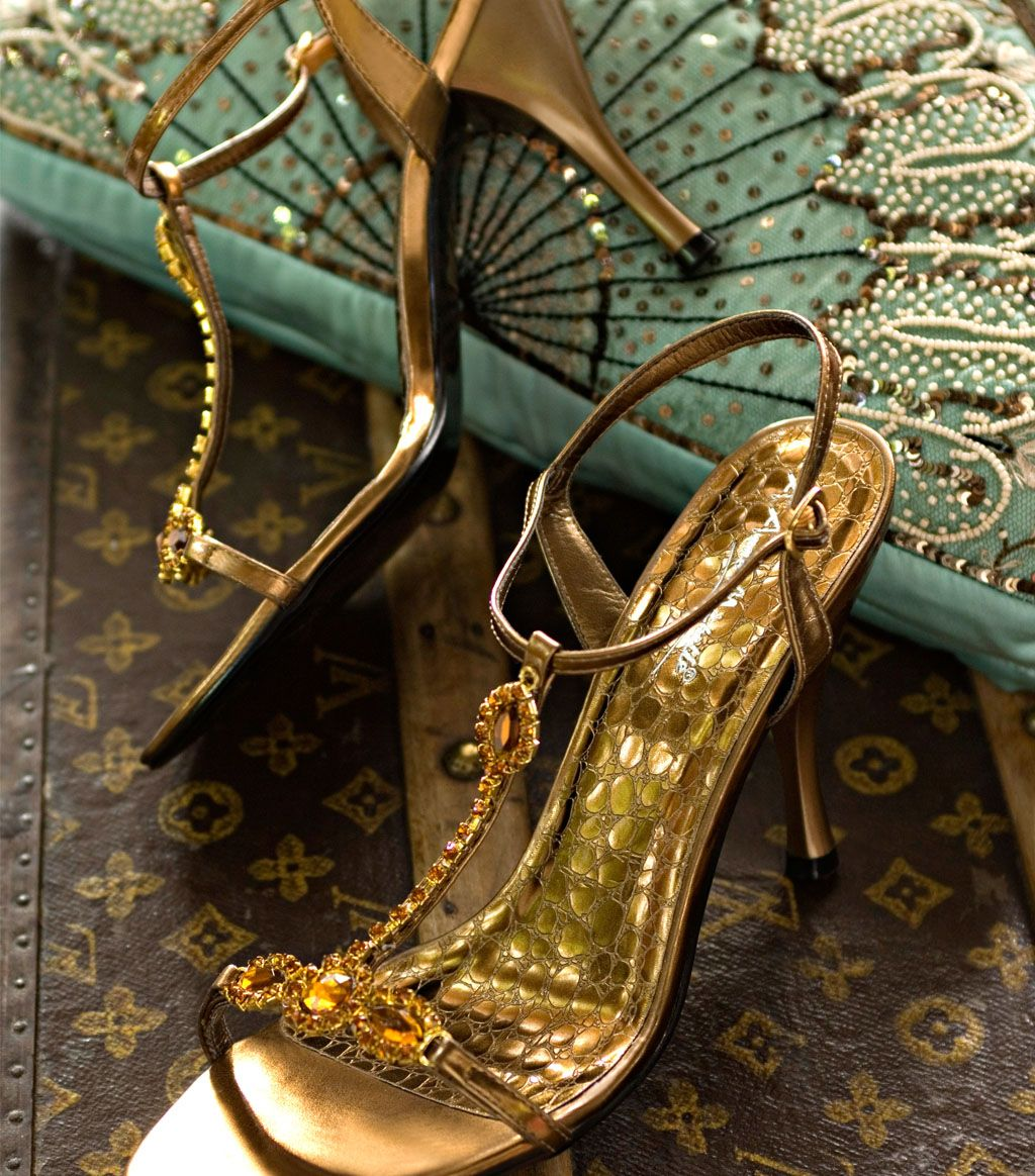 Bronze Sandals From Sonas A Shoes Heels Embellished