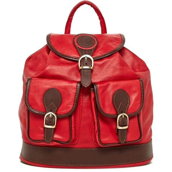 Mangotti Rosso Leather Backpack ($115) ❤ liked on Polyvore featuring bags, backpacks, rosso, foldable backpack, backpack, leather strap backpack, buckle backpack and leather backpack