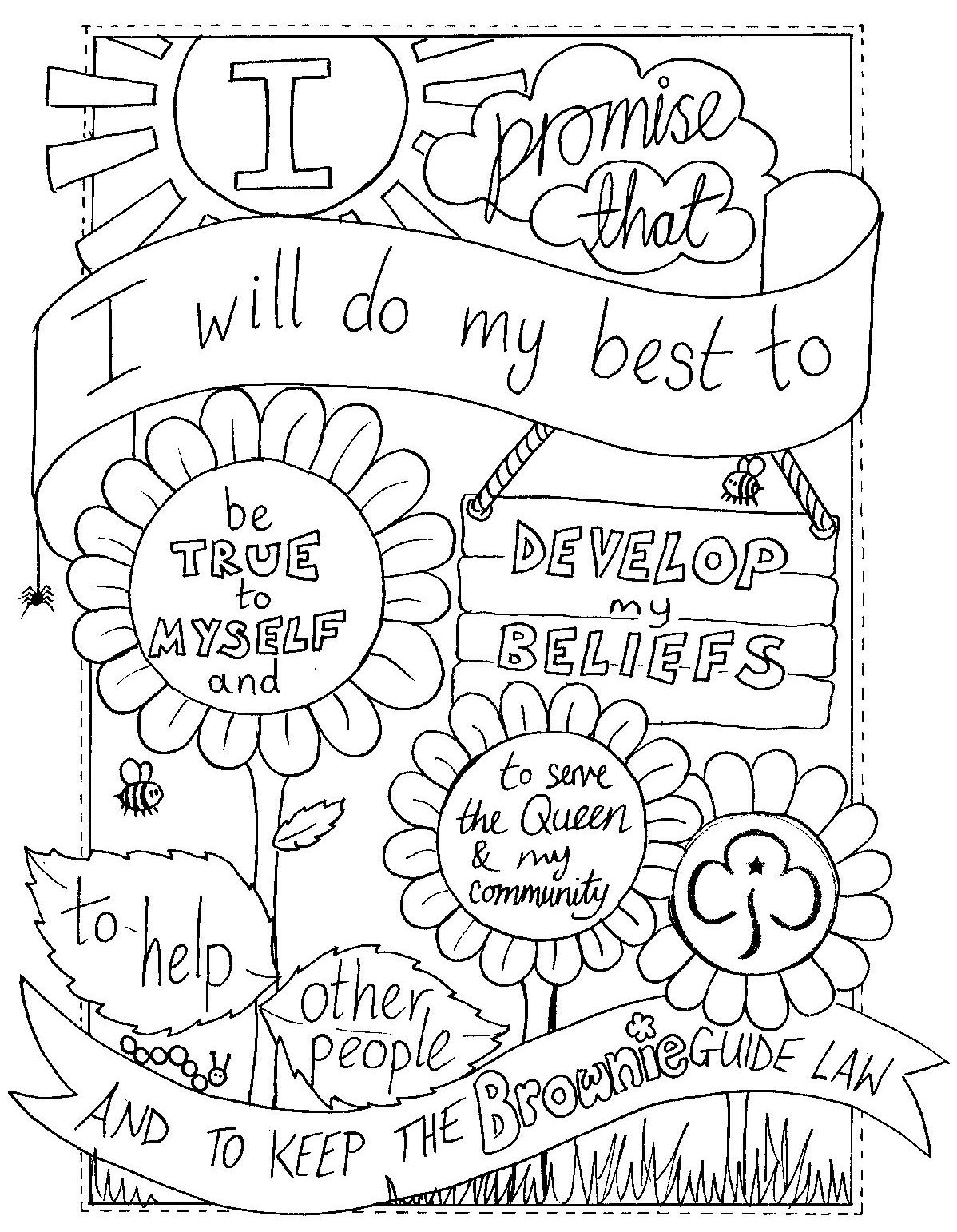 UK Brownie Promise colouring sheet. Created by @emyb Emy Buxton ...