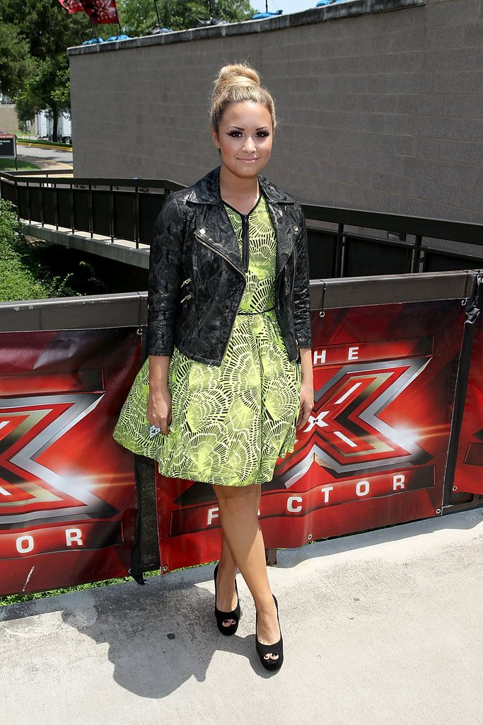 Demi Lovato-Yay or Nay to the little black leather with dress look?