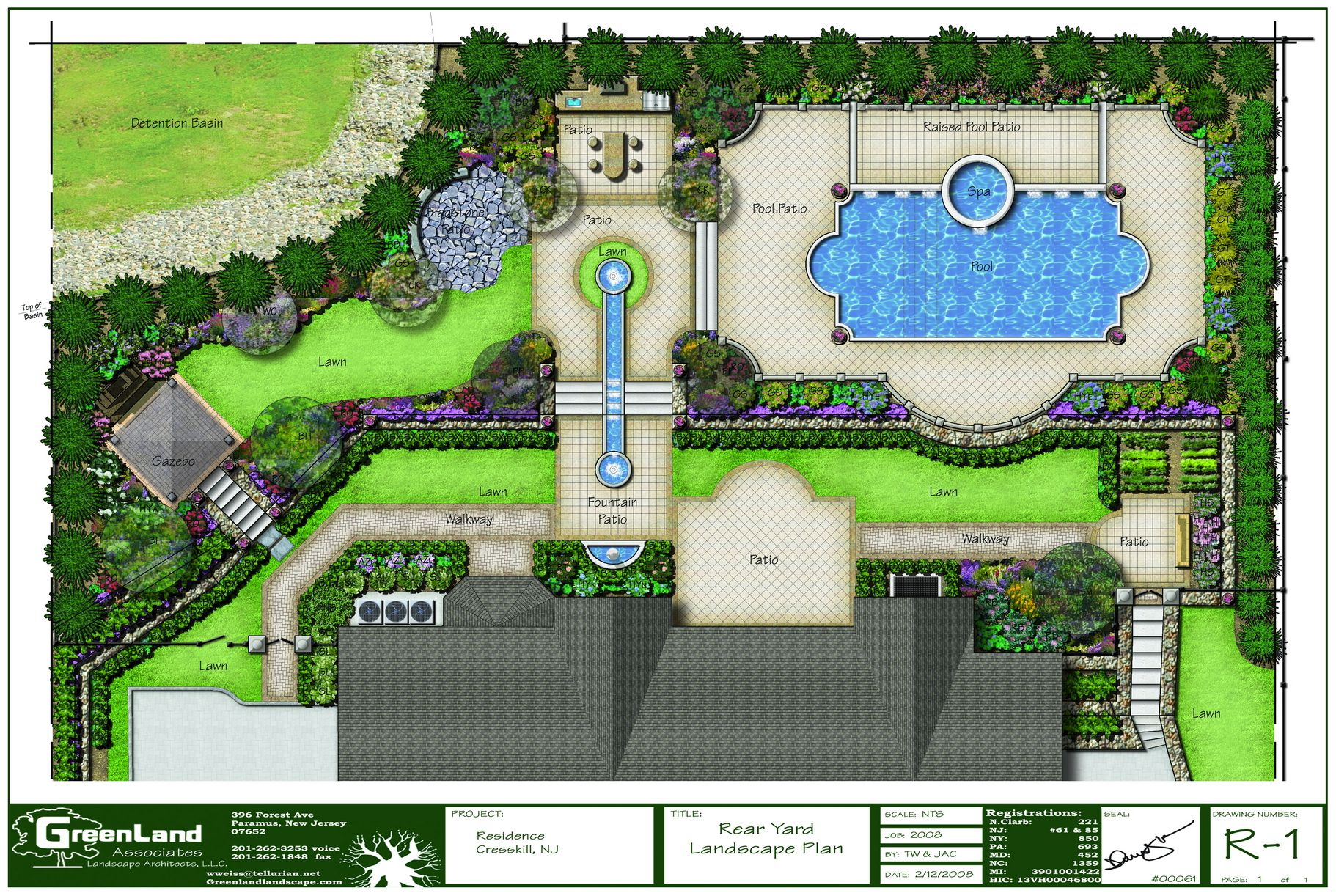 A full rendered landscape plan for a residence in alpine for Garden design georgian house