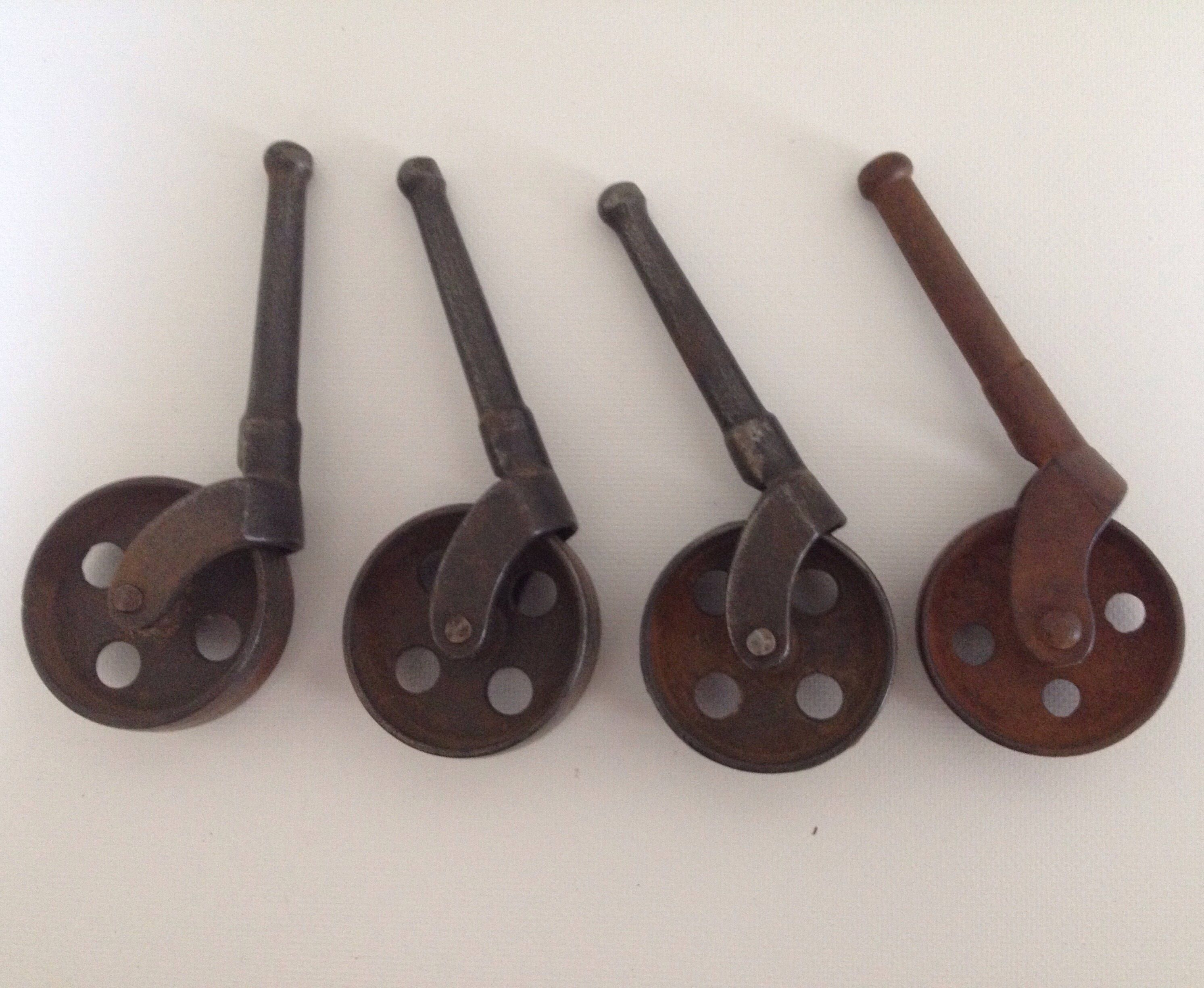 Antique Caster Wheels Lot Of 4 Industrial 1 1 2 Inch Metal Peg