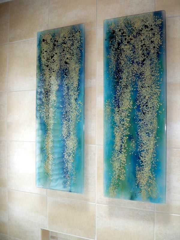 "Fused Glass Wall Art ""Blue Rainforest"" 