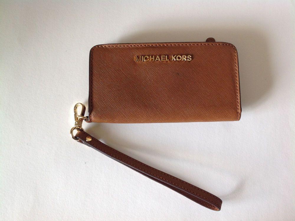 b7cccd31888e MICHAEL KORS Jet Set brown leather cell phone wallet  MichaelKors  wallet  69
