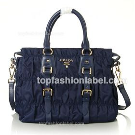 Prada Gaufre Canvas Tote Bag with Leather and Buckled Belt Trim - Dark Blue  $179.00