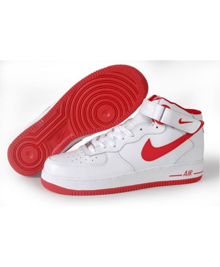 Nike Air Force 1 High Mens Classic White Red SK-1111 | Nike ...